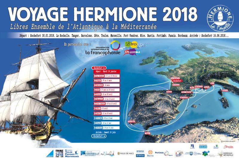 Les villes accueillant l'Hermione dans son voyage 2018