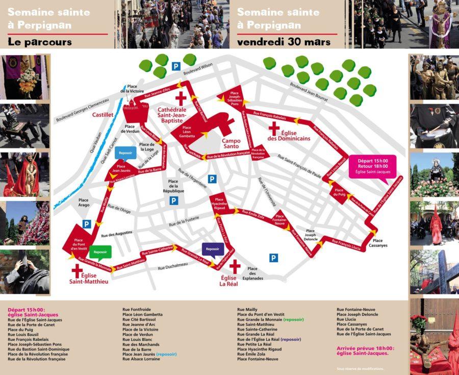 Affichage du parcours du défilé de la Sanch